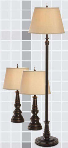 Gen-Lite 100780 3Pk(2 Table Lamp + Floor Lamp) Restoration Bronze / Shade - Peazz.com