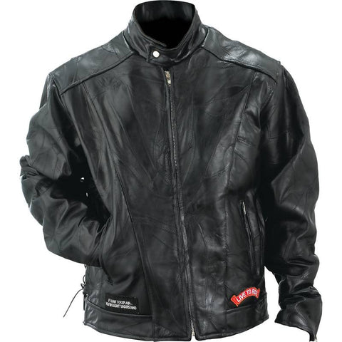 Diamond Plate Rock Design Genuine Buffalo Leather Motorcycle Jacket - Peazz.com