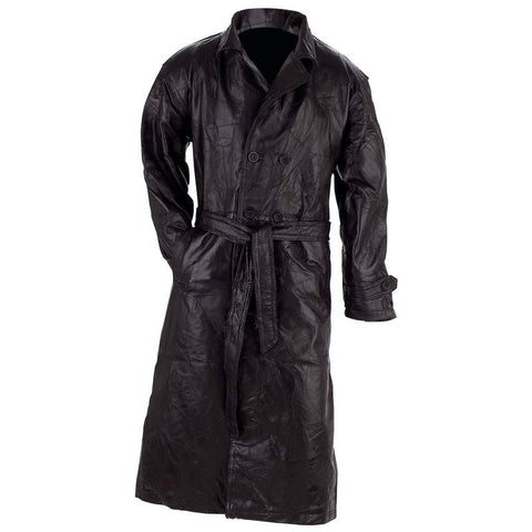 Giovanni Navarre® Unisex Italian Stone Design Genuine Leather Trench Coat - Peazz.com