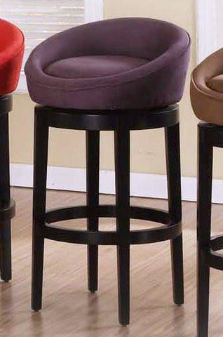 "Armen Living Igloo Eggplant Micro Fiber 30"" Swivel Barstool With Eboney Finished Legs (LCIGBAMFPU30) - BarstoolDirect.com - 1"