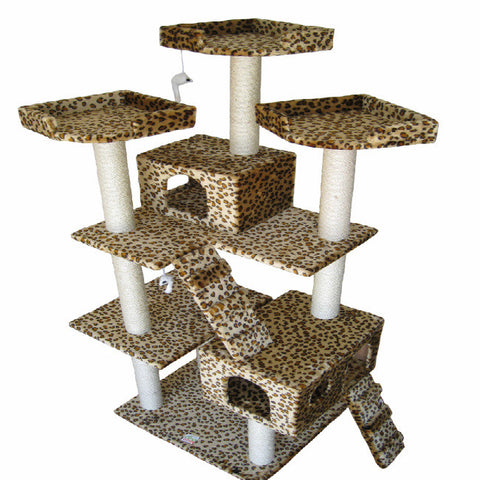 "GoPetClub Cat Tree Furniture Leopard 72"" (F2038) - Peazz.com"