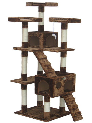 "GoPetClub Cat Tree Furniture Brown 72"" (F2081) - Peazz.com"