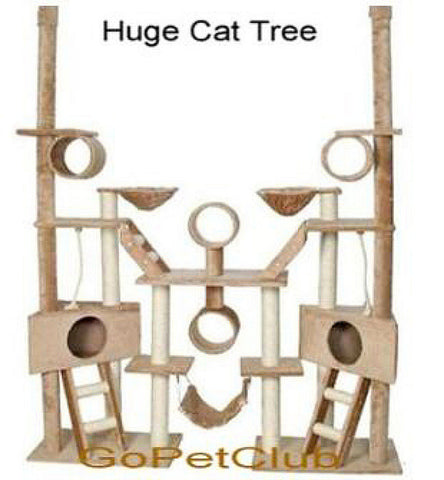 "GoPetClub Huge Cat Tree Furniture Beige 92"" to 106"" adjustable (FC02) - Peazz.com"
