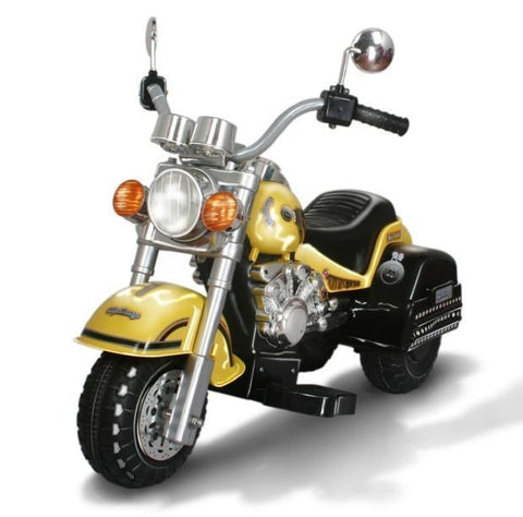 Harley Style Kid's Chopper Style Motorcycle - Yellow - FunRidingToys.com