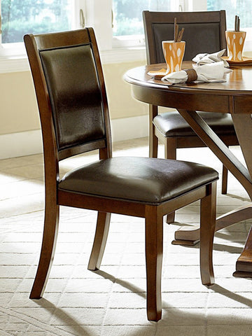 Homelegance 5327S Helena Side Chair in Dark Brown Leatherette - Homelegance - Set of 2 - Peazz.com