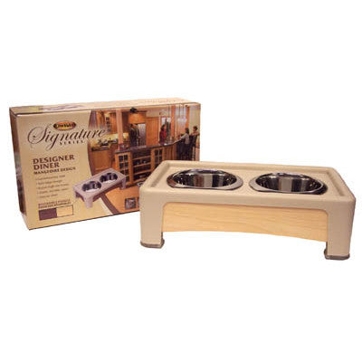 Our Pets HF04BW Signature Series 4 Inch Elevated Healthy Pet Diner Beige and Wood - Peazz.com