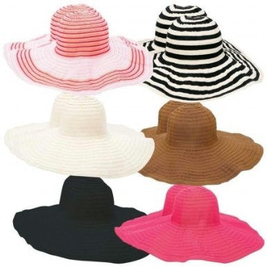 B&F System GFHATF12 Casual Outfitters 12pc Assorted Ladies Floppy Sun Hat Set - Peazz.com