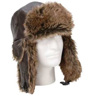 B&F System GFAHAT Giovanni Navarre Solid Genuine Leather Aviator-Style Winter Hat - Peazz.com