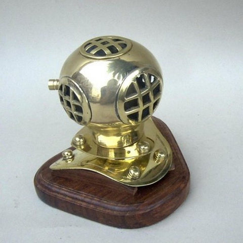 "Handcrafted Model Ships BR52570 Solid Brass Divers Helmet on Wood Base 4"" - Peazz.com"