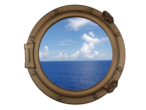 "Bronzed Porthole Window 20"" - Peazz.com"