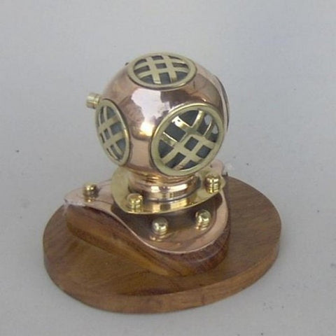 "Handcrafted Model Ships CO52570 Copper Divers Helmet on Wood Base 4"" - Peazz.com"