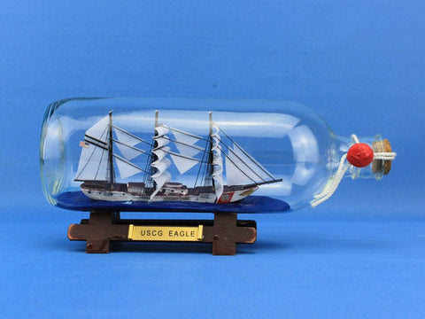 "Handcrafted Model Ships Eagle-Bottle USCG Eagle Ship In A Bottle 9"" - Peazz.com"