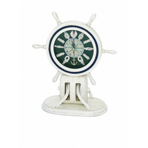 "Handcrafted Model Ships MD-081 Wooden Whitewash Ship Wheel Mantel Knot Clock 13"" - Peazz.com"