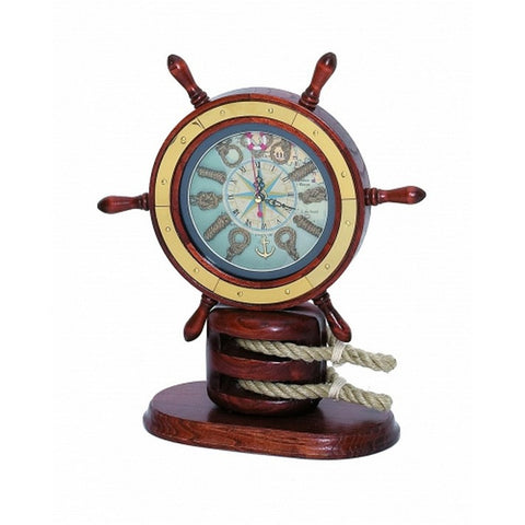 "Handcrafted Model Ships MD-083 Wooden Ship Wheel Mantel Knot Clock 13"" - Peazz.com"