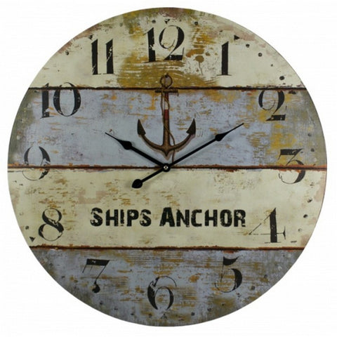 "Handcrafted Model Ships MD-165 Wooden Vintage Ship's Anchor Clock 23"" - Peazz.com"