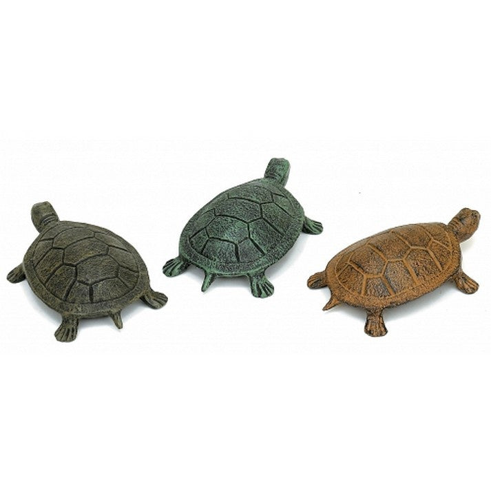 "Handcrafted Model Ships MD-286 Rustic Cast Iron Sea Turtles 5"" - Set of 3"