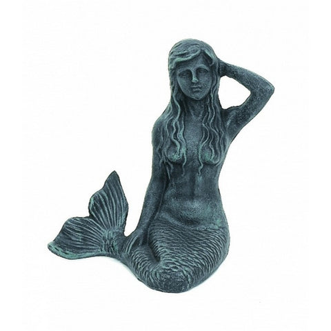 "Handcrafted Model Ships MD-379 Seaworn Cast Iron Mermaid Paperweight 7"" - Peazz.com"