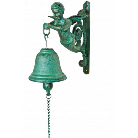 "Handcrafted Model Ships MD-684 Seaworn Cast Iron Figure Head Bell 9"" - Peazz.com"