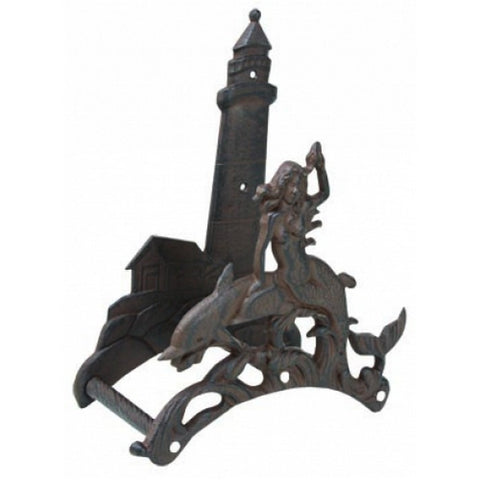"Handcrafted Model Ships MD-766 Rustic Cast Iron Mermaid with Lighthouse Garden Hose Holder 10"" - Peazz.com"