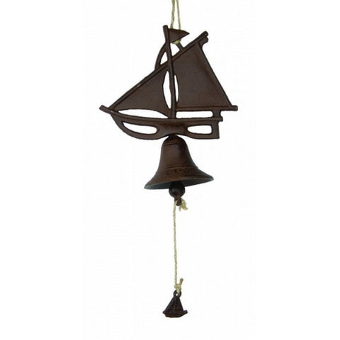 "Handcrafted Model Ships MD-782 Rustic Cast Iron Hanging Sailboat Bell 8"" - Peazz.com"