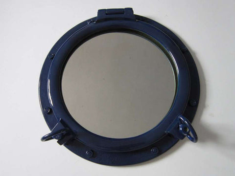"Navy Blue Porthole Mirror 20"" - Peazz.com"