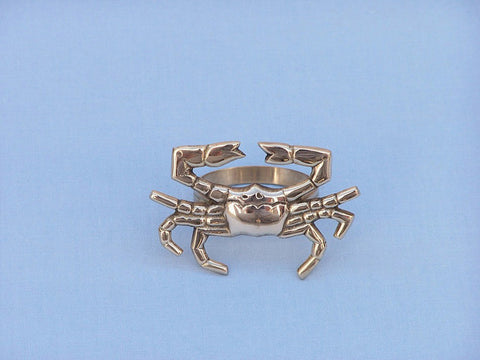 "Handcrafted Model Ships NR-12-BR Brass Crab Napkin Ring 3"" - Peazz.com"