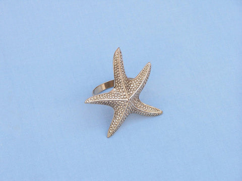 "Handcrafted Model Ships NR-16-BR Brass Starfish Napkin Ring 3"" - Peazz.com"