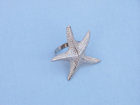 "Handcrafted Model Ships NR-16-N Chrome Starfish Napkin Ring 3"" - Peazz.com"