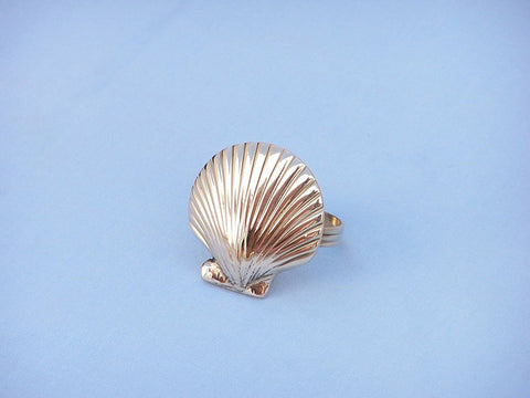 "Handcrafted Model Ships NR-18-BR Brass Seashell Napkin Ring 2"" - Peazz.com"
