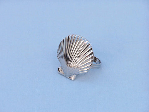 "Handcrafted Model Ships NR-18-N Chrome Seashell Napkin Ring 2"" - Peazz.com"