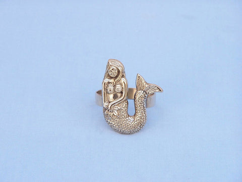 "Handcrafted Model Ships NR-28-BR Brass Mermaid Napkin Ring 2"" - Peazz.com"
