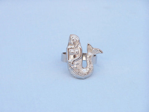 "Handcrafted Model Ships NR-28-N Chrome Mermaid Napkin Ring 2"" - Peazz.com"