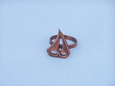 "Handcrafted Model Ships NR-29-C Antique Copper Sailboat Napkin Ring 2"" - Peazz.com"