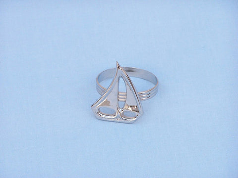 "Handcrafted Model Ships NR-29-N Chrome Sailboat Napkin Ring 2"" - Peazz.com"