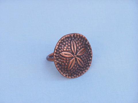 "Handcrafted Model Ships NR-30-C Antique Copper Sand Dollar Napkin Ring 2"" - Peazz.com"