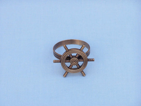 "Handcrafted Model Ships NR-33-C Antique Copper Ship Wheel Napkin Ring 2"" - Peazz.com"