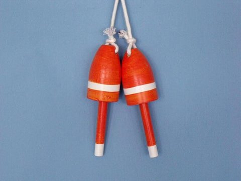 "Handcrafted Model Ships Orange-B-7 Wooden Orange Maine Lobster Trap Buoy 7"" - Set of 2 - Peazz.com"