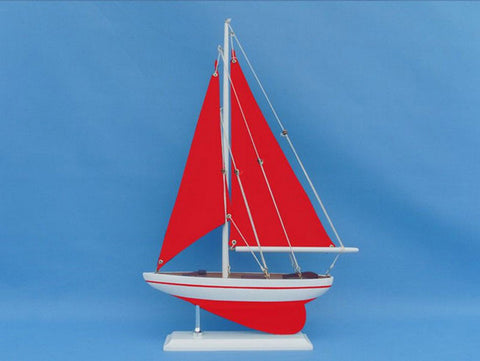 "Handcrafted Model Ships PS-Red-Red-Sails Pacific Sailer 17"" Red with Red Sails - Peazz.com"