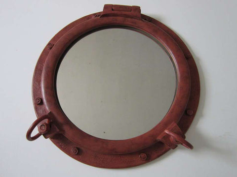 "Rusted Iron Porthole Mirror 20"" - Peazz.com"