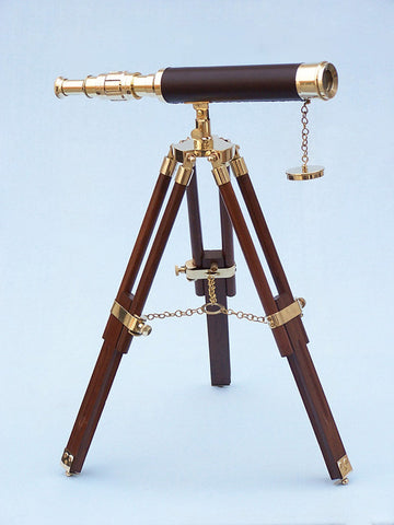 "Brass/Leather Harbor Master Telescope 30"" - Leather - Peazz.com"