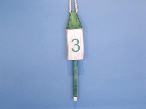 "Handcrafted Model Ships Vintage-Dark-Green-Squared-15 Wooden Vintage Dark Green Number 3 Squared Buoy 15"" - Peazz.com"