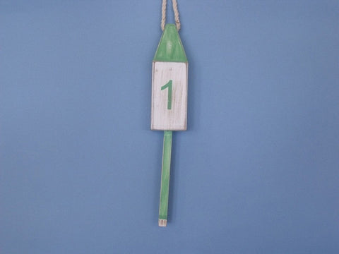 "Handcrafted Model Ships Vintage-Light-Green-Squared-15 Wooden Vintage Light Green Number 1 Squared Buoy 15"" - Peazz.com"