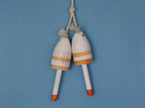 "Handcrafted Model Ships Vintage-Orange-LB-7 Wooden Vintage Orange Maine Lobster Trap Buoy 7"" - Set of 2 - Peazz.com"