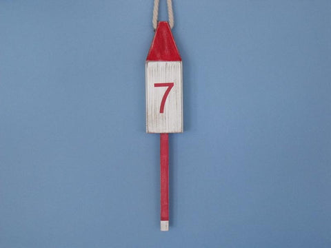 "Handcrafted Model Ships Vintage-Red-Squared-15 Wooden Vintage Red Number 7 Squared Buoy 15"" - Peazz.com"