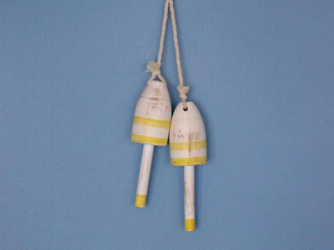 "Handcrafted Model Ships Vintage-Yellow-LB-7 Wooden Vintage Yellow Maine Lobster Trap Buoy 7"" - Set of 2 - Peazz.com"