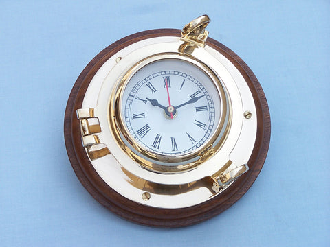 "Brass Porthole Clock 10"" - Peazz.com"