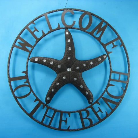 "Handcrafted Model Ships Y-00107 Metal Welcome To The Beach Starfish Wall Sign 26"" - Peazz.com"