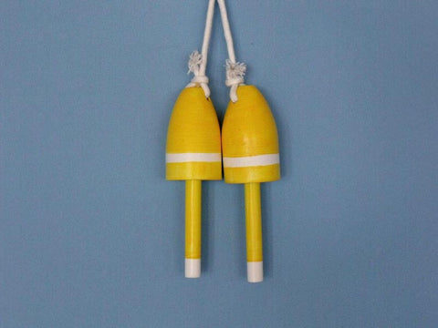 "Handcrafted Model Ships Yellow-LB-7 Wooden Yellow Maine Lobster Trap Buoy 7"" - Set of 2 - Peazz.com"
