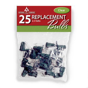 National Tree 5xRBG-25C 25 Clear Replacement Bulbs in Bag with Header for 50 Light Sets-UL-2.5 Volts Set of 5 - Peazz.com