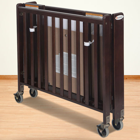 Foundations Solid Wood Compact HideAway™ Folding Fixed-Side Crib - Antique Cherry - 1031852 - Peazz.com